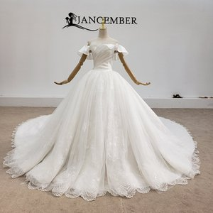 2020 Newest Boho Wedding Dresses Bateau Neck Princess Short Sleeve Taffeta Lace Applique Lace Up Back Shining Customizable Robes De Mariée