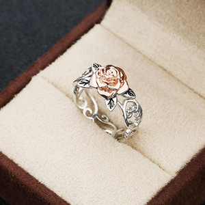 Hot Selling Solid 14k Rosegold Flower Jewelry 925 Sterling Silver Floral Ring Womens Two Tone Romantic Rose Wedding Engagement Rings