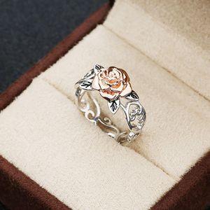 حار بيع 14K الصلبة مجوهرات Rosegold زهرة 925 فضة الزهور الدائري إمرأة اثنين من لهجة رومانسية روز الزفاف خواتم الخطبة