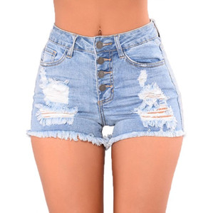 Womens Denim Shorts Summer Sexy Slim Hole Fashion Style Female Vintage Shorts Asian Size S-2XL Free Shipping