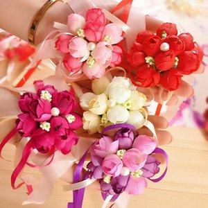 Свадьба Имитации запястья цветок невеста сестра наручных корсаж Свадебные украшения Свадебный Пром ручной цветок 5styles RRA1910