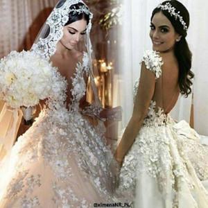 2020 Luxus-Spitze Ballkleid Brautkleider Sheer Langarm Brautkleider Plus Size Vintage Wedding Kleid nach Maß