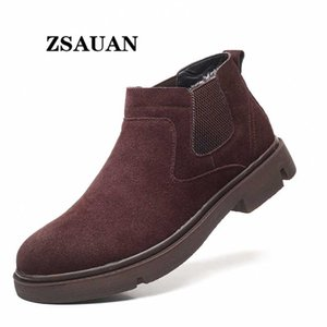 ZSAUAN Slip-on Men Casual Boots Cow Suede Leather Short Ankle Boots Woollen Lined Winter Snow
