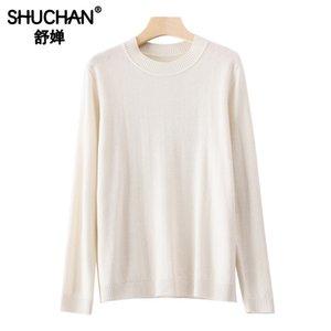 Shuchan ovejas de lana de las mujeres básicas del suéter del O-Cuello Señora de la oficina Corea Mujeres Suéteres y suéteres de otoño invierno 2019 nuevos artículos