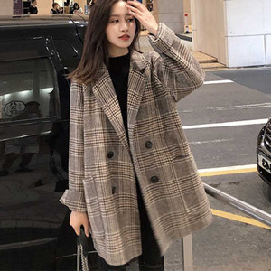 2020 Plaid Thick Winter Coat Women Wool Blend Office Coats Fashion Double Breasted Warm Lady Jacket Long Sleeve Outwear Coat