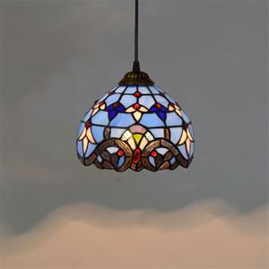 Европейский 8-дюймовый старинных тиффаните подвесные светильники синего витражного стекла люстры спальню балкон застекленный коридор кулон lampTF003