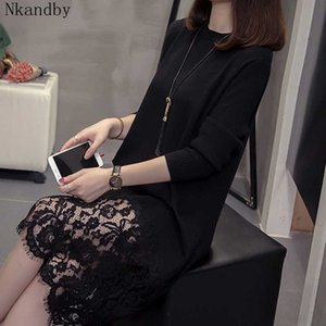 Nkandby Plus Size Lace Patchwork Poullover Knitted Dress 2020 Fall Winter Fashion Long Sleeve Oversized Office Sweater Dresses