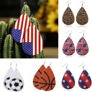 Women Flag Teardrop Leather Earrings Ear Stud Hook Drop Dangle Jewellery Hot