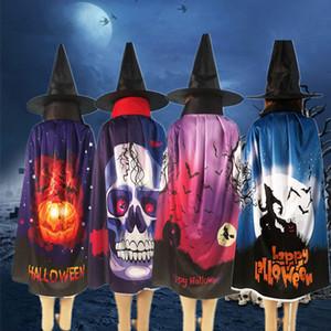 2pcs / set Cadılar Bayramı Robe Cloak Siyah Sihirbazı Hat Cape Cosplay Kostüm Yetişkin Robe Cloak Bat Kabak Kafatası Baskılı Robe Cloaks VT0477
