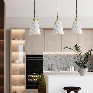 restaurante nórdico lámpara pendiente de la personalidad creativa del estudio del dormitorio de cemento gris terrazo pequeña cemento color de luz colgante 110-240