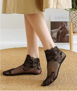 Womens Sexy Lace Boat Sock Ultra Thin Summer Designer Low Top transpirable Stealt calcetines hombres moda Underwearh