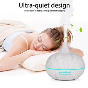 400ml ultrasuoni elettrico umidificatore Aroma Oil diffusore bianco Grana del legno 7 colori LED per casa