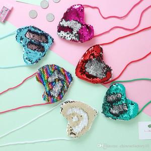 Прекрасный в форме сердца русалка блестками портмоне с ремешком для девочек блеск сумка модный кошелек дети портативные сумки через плечо маленькие кошельки