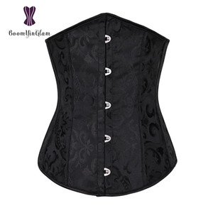 High quality metal busk clips Jacquard waist cincher spiral steel boned corset slimming underbust corset size s-xxl 28331# MX200506