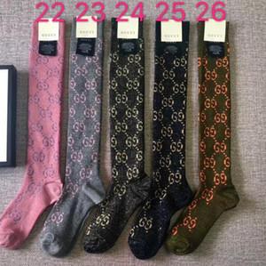 2020 New Chegou G * C algodão com Golden Sexy Moda Stocking Estrela Mulheres linhagem de Ouro e de rede Reds meias longas com caixa
