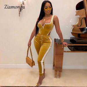 Ziamonga Sexy Two Piece Set Zipper Bodysuit Top E calças compridas Mulheres Side listrado de veludo Fall 2 Pedaço Sets Clube Outfit BODYCON