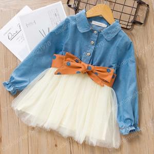 Kids Designer vestiti del denim delle ragazze di splicing maglia cowboy bambini del vestito della principessa del merletto Abiti versione coreana Boutique Abbigliamento bambino