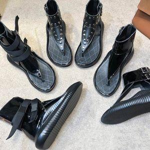 donne del progettista di lusso sandali scarpe roma rivetto gladiatore moda alta top 100% vera pelle scarpe da spiaggia suola in gomma
