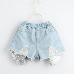 Sommer-neue Pailletten Mädchen Shorts Loch Kinder Jean Shorts Süßigkeiten Farbe Kinder Shorts Denim Mädchenhosen-Kindkleidung Mädchenkleidung A4525