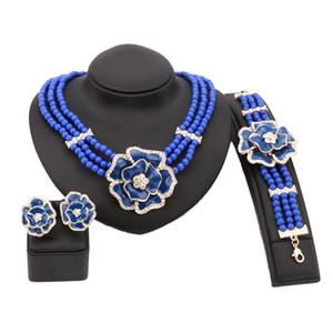Mode Simulé Collier De Perles Boucles D'oreilles Bracelet Anneau Cristal De Mariage De Mariage Parures De Bijoux