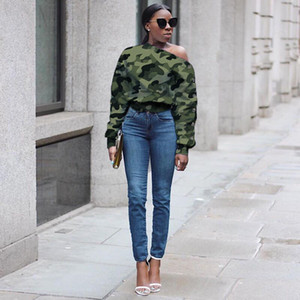 Drucken Tarnung Womens Designer Hoodies Langarm Diagonal Kragen Womens Sweater reizvollen Frauen beiläufige Hoodies