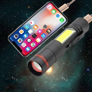 BRELONG yeni alüminyum alaşım kırmızı COB ile yan ışık yakınlaştırma USB şarj hazine çok fonksiyonlu LED el feneri ile şarj