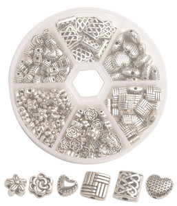 One Box of 185PCS Antiqued Silver Metal Spacer Beads for jewelry making