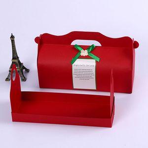 Длинные Красные Коробки Торта Крена Paperboard Печь Швейцарскую Коробку Подарка Партии Оптовой Продажи Коробки Здравицы