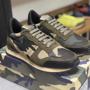 Nueva llegada Negro tela de acoplamiento de la zapatilla de deporte camuflaje Rockrunner Hombres Mujeres camuflaje zapatillas de deporte con tachuelas Zapatos Formadores cuero genuino con la caja