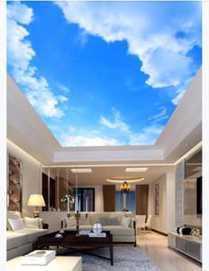 Personalizado 3D de seda zenith mural papel de parede foto decoração Bonito céu azul e nuvens brancas sala de estar quarto teto mural Papel de parede