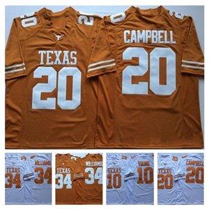 NCAA Vintage Техас Longhorns Колледж Джерси Дешевые 10 Винс Янг 34 Ricky Williams 20 Эрл Кэмпбелл университета прошитой футбола трикотажных изделий