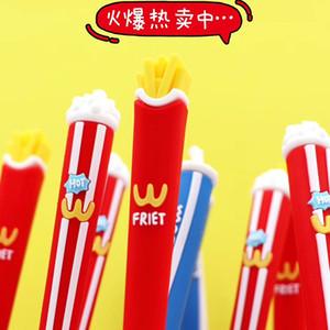 Foodie Snacks Komik Kalem Net Kırmızı Kalem Sevimli Süper Sevimli Kız Kalp Koreli Öğrenci Topu İmza Kalem Yaratıcı Kırtasiye Hamburger Fries Modeli