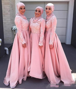 2020 Modest Blush Pink Muslim Bridesmaid Dresses Crew Long Sleeves Applique Evening Dresses A-line Modest Maid Of Honor Dresses