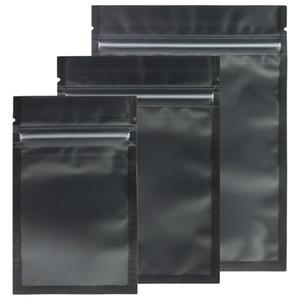 Çeşitli Boyutları Mat Sil / Siyah / Siyah Zip Kilit Çantaları 100 adet Plastik Düz Kilitli Paket Çanta