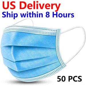 (États-Unis Domestic Livraison) 50PCS jetable Masque Visage, 3-couche jetable Masque stérilisées en soins infirmiers à l'oreille élastique en boucle (États-Unis uniquement)