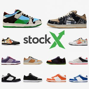Nike SB DUNK Luxury Brand Stock X Ben Jerrys Chunky Dunky Dunk Low Mens Designer sneakers Travis Scott Cactus Jack Safari Raygun Tie-Dye Infrared Panda Pigeo women casual shoes