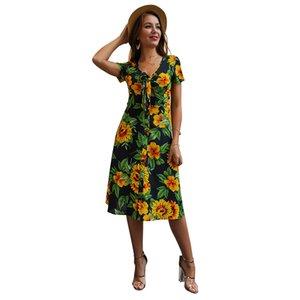 Özgün tasarım kadın yaz 2020 yeni basılmış çiçek seksi bandaj büyük boy elbise