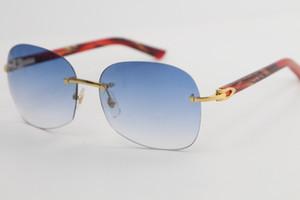Toptan Rimless 8100908 Mermer Kırmızı Plank Altın metal çerçeve Güneş gözlüğü Satan Yüksek Kalite moda büyük boy gözlük güneş gözlüğü