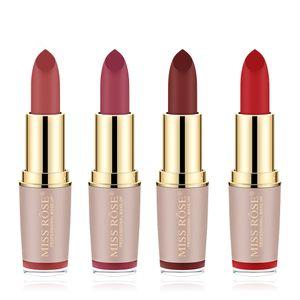 MISS ROSE Rossetto in velluto opaco di marca 4Color balsamo per labbra impermeabile trucco cosmetico a lunga durata per lucidalabbra