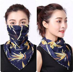 Kadınlar Eşarp Yüz 38 Styles İpek şifon Mendil Açık Maske Windproof Yarım Yüz Toz geçirmez Güneşlik Maskeleri LJJO7663