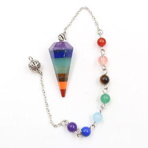 5 Pz Hexagon Piramide Colorful Rainbow pendolo per Dowsing Ciondolo Catena Labradorite Pietra d'argento monili placcati