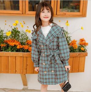 Kız Palto 2020 İlkbahar Yeni Moda Ekose Coat Kız Antik Ruffles Gençler Ceket Uzun Dış Giyim Çocuk Windproof