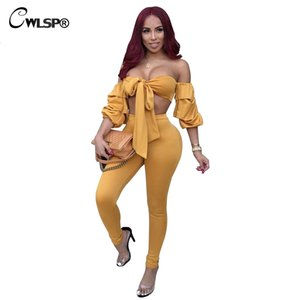 CWLSP Women 2 Piece Set Puff Sleeve Sexy Strapless Top Crop Top With Full Pants Fashion Bowknot Lace Up Stellen Sie Ein QZ2374