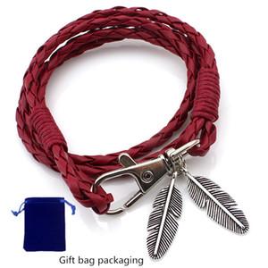Sevenstone Bracelet en cuir plume tressée main poignet Wrap Bracelet manchette multicouche Bohème avec Stud Bracelet Femme, mâle, cadeau de l'adolescence