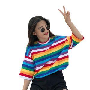 New T Shirt Women Rainbow Striped Tops Harajuku Tshirt Summer Short Sleeve Korean Punk T -Shirt Camiseta Feminina Size M-2XL