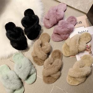 Sapatos de senhora chinelos de luxo Slides Plush Baixa Flock Designer 2019 Fur Plano de borracha de moda com pele Básico Curto