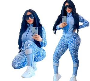 2020 impressão Louιs Vuιtton Mulheres agasalho Set Sportswear manga comprida Top + Calças de moda de duas peças das mulheres roupas