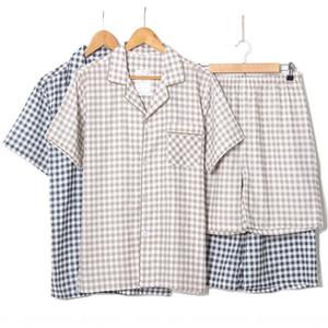 oo2ty verano nuevo algodón de doble capa de gasa traje de casa cortos de manga corta de los hombres de la tela escocesa de dos piezas de verano nuevo algodón hilado de doble capa traje de Hom