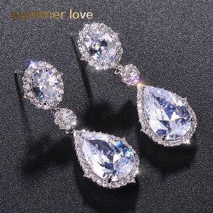 Moda placcato argento 3a zirconi cubici waterdrop orecchini a goccia per le donne elegante intarsiato di rame cz orecchini regalo per le spose damigelle