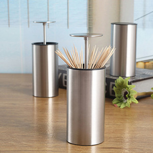 Toothpick Box Stainless Steel Creative Fashion Simple Personality Table Living Room Home Pressing Automatic Toothpick Cans